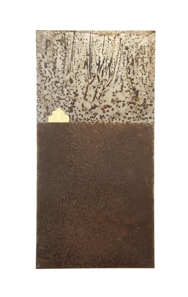 Reprogress XXII, 2013, staal, bladgoud 100cm x 50cm x 5cm. (onderdeel van drieluik)