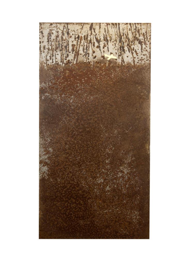 Reprogress XX , 2013, staal, bladgoud 100cm x 50cm x 5cm. (onderdeel van drieluik)