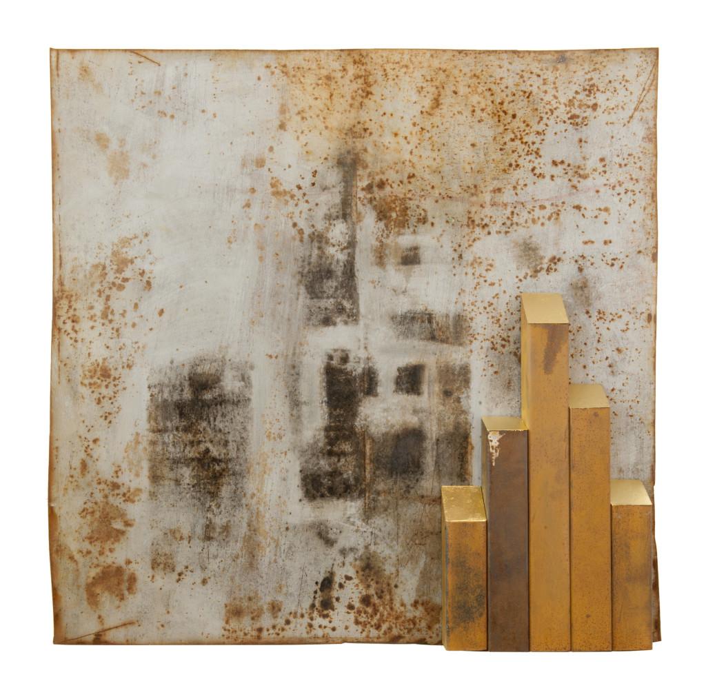 Reprogress XIX, 2013, staal, magneten, bladgoud 90cm x 90cm x 10cm