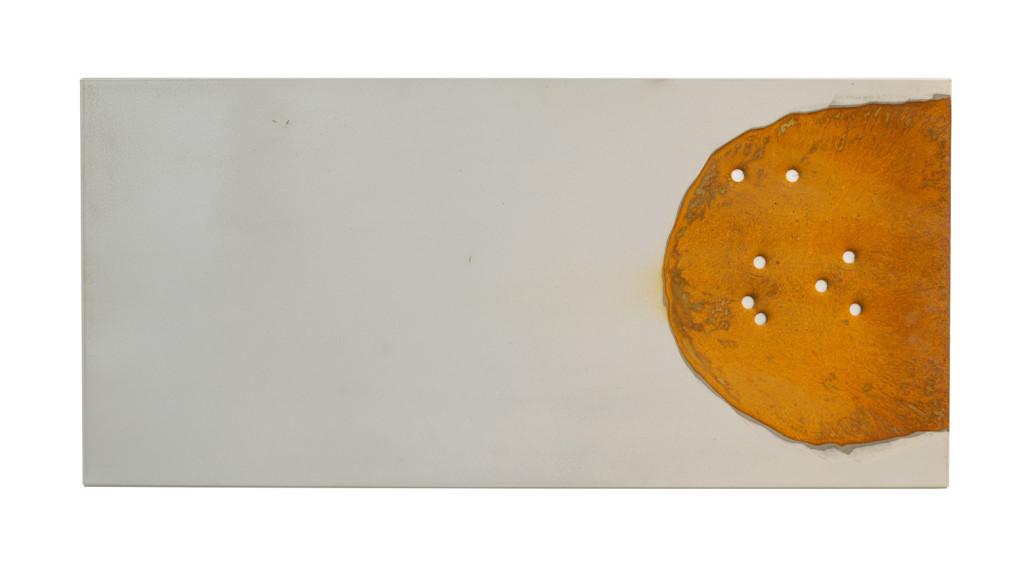 """""""Zopyra III"""", 2012. Roestig staal, magneten, .45 kogelgaten, bladzilver, prefab ikea plaat. L 37cm, B 77.5cm."""