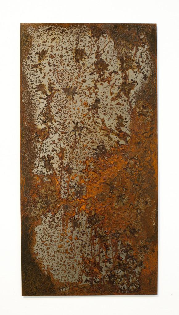 "(Verkocht) ""Fossus IV"" 2012. Roestvorming, staal. L 100cm, B 50cm."