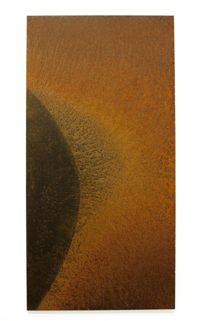 "(Verkocht) ""Nibiru I"" 2011. Roestig staal. L 100cm, B 50cm."