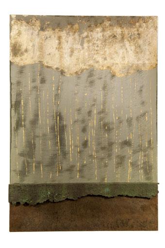 """(verkocht) """"Cykel II"""" 2011. Roestig staal, bladgoud/ zilver, magneten, prefab Ikea plaat L 66cm, B 45cm"""