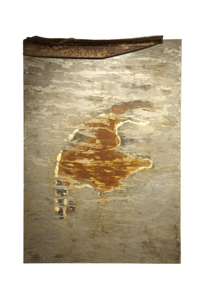 """Cykel I"" 2011. (Verkocht) Roestig staal, bladgoud, magneten, prefab Ikea plaat. L 66cm, B 45cm, D 8cm."