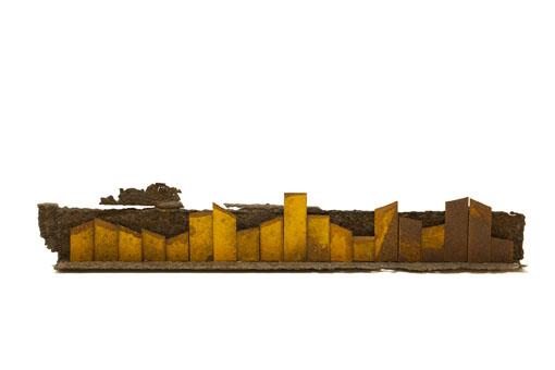 """""""Reprogress I"""" 2011. Roestig staal, magneten. L 18cm, B 107cm, D 10cm."""
