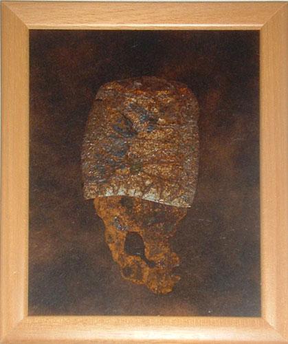 """Semiofoor I"" (verkocht) 2010. Blik, roestig staal. L 29cm, B 21cm."